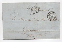- Lettre COMPTOIR NATIONAL D'ESCOMPTE, CHALON-SUR-SAÔNE Pour ÉPINAC 25.9.1853 - Taxe Tampon 25 Décimes - - Postmark Collection (Covers)