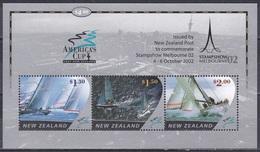 Neuseeland New Zealand 2002 Sport Segeln Sailing Regatta Schiffe Ships America's Cup Philatelie MELBOURNE, Bl. 141 I ** - Neuseeland
