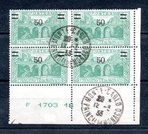 MONACO -- Bloc CdFde 4 Timbres 50 C. Surchargé 1 F.10 Vert Viaduc Sainte Dévote -- Càd Monte Carlo 12.3.1933 - Oblitérés