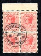 MONACO -- Bloc De 4 Timbres BdF  25 C.Prince LOUIS II -- Rouge Sur Jaune -- Càd Monte Carlo 13.2.1931 - Oblitérés