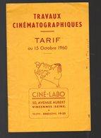Vincennes (92 Hauts De Seine) Tarif Des Travaux Cnématographiques  CINE LABO 1960  (PPP10973) - Advertising