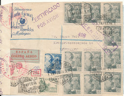 Spain Nazi Censored Registered Cover Sent  Air Mail To Denmark 14-2-1944 With S Lot Of Stamps And Postmarks - 1931-Today: 2nd Rep - ... Juan Carlos I