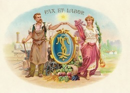 1893-1894 Grande étiquette Boite à Cigare Havane Enclume Gorge Forgeron - Etiquettes
