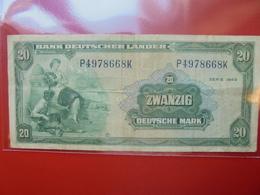 Bank Deutscher Länder : 20 MARK 1949 CIRCULER (F.1) - [ 7] 1949-… : RFA - Rép. Féd. D'Allemagne