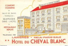 52-LANGRES-HOTEL DU CHEVAL BLANC-PUBLICITE-N°R2044-F/0193 - Langres