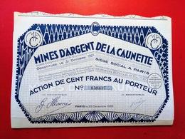 MINES D'ARGENT DE LA CAUNETTE 1928 - Mines