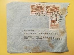 1954 BUSTA  PERU BOLLO MOTIVI LOCALI LOCAL MOTIVE  PER ITALIA ANNULLO LIMA STORIA POSTALE - Perù