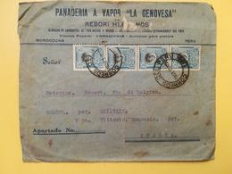 1923 BUSTA INTESTATA PERU BOLLO PERSONALITA BOLOGNESI PER ITALIA ANNULLO LIMA STORIA POSTALE PANADERIA LA GENOVESA - Perù