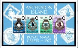 Ascension Is 159a MNH 1972 Royal Naval Crests S/S - Ascension