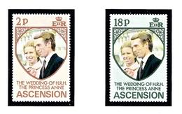 Ascension Is 177-78 MNH 1973 Princess Anne Wedding - Ascension