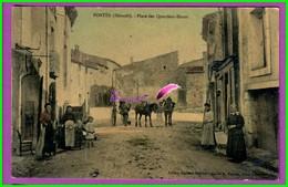CPA  (34 Hérault)  - FONTES - Place Des Quartiers Hauts - Très Animé Charrette Famille - Couleur - France