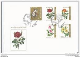 122 - 82 - Enveloppe Suisse Série Roses - Pro Juventute 2002 - Obli Spéciale 1er Jour - Roses