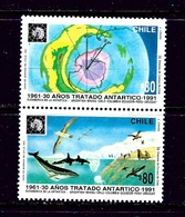 Chile 975a MH 1991 Antarctic Treaty Anniversary Pair - Chile