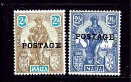 Malta 120-21 MLH 1926 Overprint Issues - Unclassified