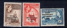 Ghana 25-27 NH 1957 Independence Overprint SCV 2015 $5.55 - Ghana (1957-...)