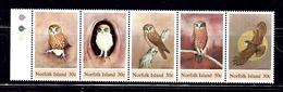 Norfolk Is 343 MNH 1984 Owls Strip Of 5 - Norfolk Island