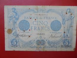 FRANCE 5 FRANCS SEPTEMBRE 1916 CIRCULER (F.1) - 1871-1952 Circulated During XXth
