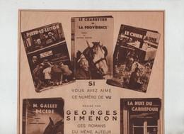 Publicité Georges Siménon Fayard Paris Peter Le Letton Le Charretier De La Providence Le Chien Jaune... - Publicités