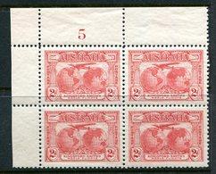 Australia 1931 Kingsford Smith's Flights - 2d Plate 5 Block Of 4 HM In Margins (SG 121) - Nuevos