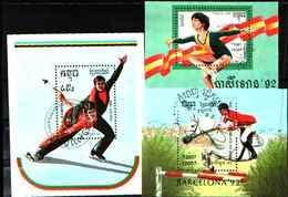 5519bis ) CAMBOGIA-1992 Olimpiade'92, Barcellona 3 BF  -USATI - Cambogia