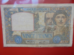 FRANCE 20 FRANCS 8-5-1941 (NJ) CIRCULER (F.1) - 1871-1952 Antichi Franchi Circolanti Nel XX Secolo