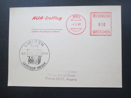 Österreich 1967 Messe Sonderflugverkehr AUA Wien - Leipzig Erstmals Mit Caravelle Freistempel AUA Erstflug - 1945-.... 2. Republik