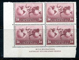 Australia 1934-48 Hermes - P.13½ X 14 - Chalk Paper - McCracken Imprint Block MNH (SG 153a) - 1913-36 George V : Other Issues