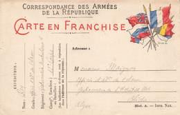 Carte Correspondance Franchise Militaire Rey Officier Administration 1ere Classe Gestionnaire Ambulance 12e Corps Armée - Marcophilie (Lettres)