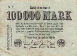 100.000 Mark Reichsbanknote N31 VG/G (IV) - 1918-1933: Weimarer Republik