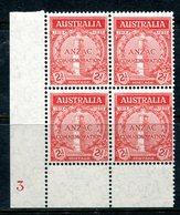 Australia 1935 20th Anniversary Of Gallipoli Landing - 2d Scarlet - Plate 3 Block Of 4 MNH (SG 154) - Nuevos