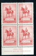 Australia 1935 KGV Silver Jubilee - 2d Scarlet John Ash Imprint Block MNH (SG 156) - 1913-36 George V : Other Issues