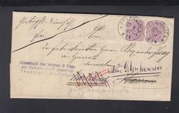 Dt. Reich Faltbrief 1885 Gelnhausen Nach Karlsbad Als Kurgast Nicht Gemeldet Retour - Deutschland