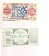 8198 Biglietto Lotteria MONZA Automobilismo 1962 Lieve Piega Centrale Verticale - Biglietti Della Lotteria