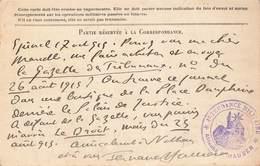 Carte Correspondance Franchise Militaire 1915 Cachet Intendance Militaire Attaché Fernand Hauser Poete Et Journaliste - Postmark Collection (Covers)