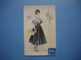Carte ILLUSTRATEUR  -  Bonne Année  -  Signature Peu  Visible -  Femme Au Bouquet De Fleurs - Illustrateurs & Photographes