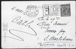 """ANNULLO A TARGHETTA """"LIDOS"""" - UFF. MILANO/CENTRO 04.03.1924 SU CARTOLINA ARTISTICA - Storia Postale"""