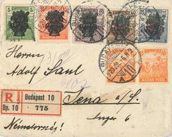 Briefvorderseite Budapest 1920 Marken Mit Überdruck R-Brief Nach Jena - Covers & Documents
