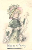 Bonne Annee  (vrouw Met Hoed) (fantasiekaart Uit Belgie) - Nieuwjaar