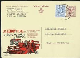 Publibel Obl. N° 2354  ( Ets LEROY Frères, Moissoneuses; Tracteur ) Obl. Anvaing 1970 - Stamped Stationery