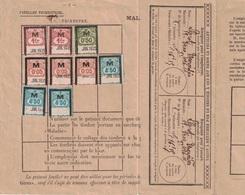 VAUCLUSE - CARPENTRAS - FEUILLET TRIMESTRIEL DE COTISATION ASSURANCE MALADIE EN 1935 - TIMBRE AVEC SURCHARGE M (MALADIE) - Revenue Stamps