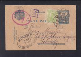 Romania Stationery 1917 Vaslui Via Russia To Switzerland Censor - 1. Weltkrieg (Briefe)