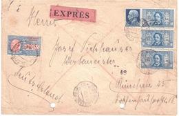 ESPRESSO PORTI MULTIPLI X ESTERO  CON 3 X £1,25 DANTE ALIGHIERI - 1900-44 Vittorio Emanuele III