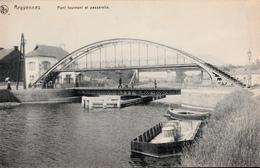 B&W Arquennes Belgique - Pont Tournant - Swing Bridge - État : Excellent - Animation - Écrite En 1918 - 2 Scans - Seneffe