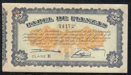 SPAIN PAPEL DEL FIANZAS 5 PESETAS 1940 CLASE E #74172 VF  (as UNC.but 5 P.h. !) - [ 5] Emissioni Ministero Delle Finanze