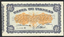 SPAIN PAPEL DEL FIANZAS 5 PESETAS 1940 CLASE E  #A0468045 VF  (as UNC.but 4 P.h. !) - [ 5] Emissioni Ministero Delle Finanze