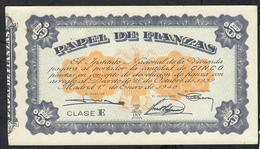 SPAIN PAPEL DEL FIANZAS 5 PESETAS 1940 CLASE E  #A0468045 VF  (as UNC.but 4 P.h. !) - [ 5] Uitgaven Van Het Ministerie Van Financiën
