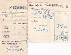 Sparkasse Der Stadt Feldkirch Austria 1950s Travel Receipt Ephemera - Tourism Brochures