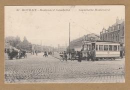 ROUBAIX   31 Boulevard Gambetta Boulevard . Carte Marchée Et Animée Avec TRAMWAY . - Roubaix