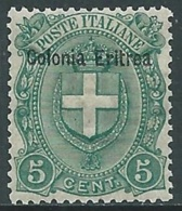 1895-99 ERITREA STEMMA 5 CENT MNH ** - RA5-3 - Eritrea