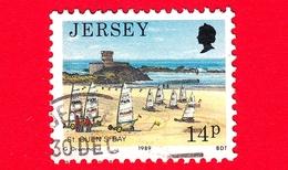 JERSEY - Usato - 1989 - Paesaggi - Vedute - Sand Yacht Racing, St Ouens Bay - 14 - Jersey